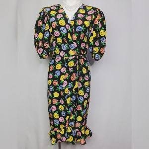 Vintage Neiman Marcus Silk Roses Wrap Dress Lk New